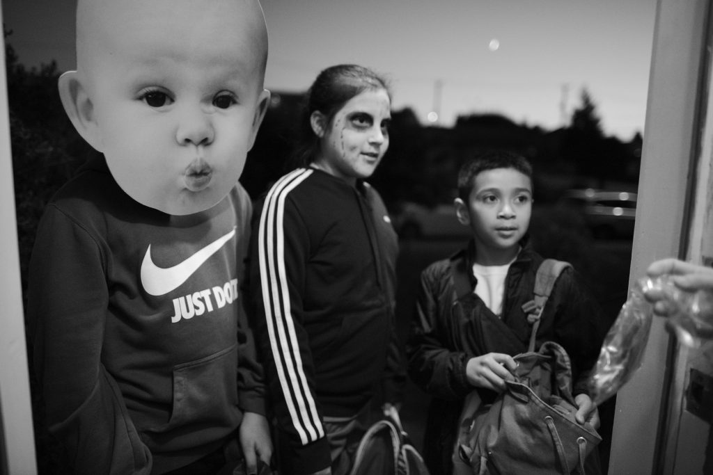 Three children dressed for Hallowe'en